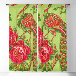 Peacock Rose Floral Blackout Curtain