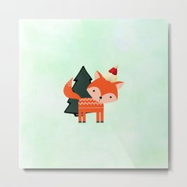 Orange Fox in Santa Hat in front of a Pine Tree Metal Print