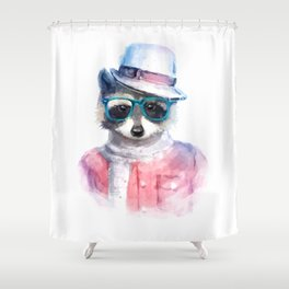 Cute fashion hipster animals pets raccoon Shower Curtain