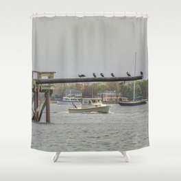 Cormorants on the Greasy Pole Shower Curtain