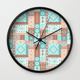 Geometric pattern  with ethnic ornaments. Wall Clock