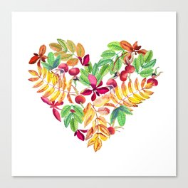 Heart leaves watercolor Canvas Print