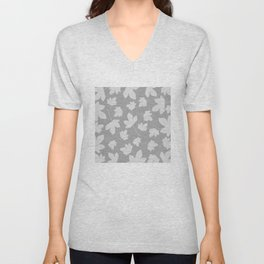 Grey leaves decor. Unisex V-Neck