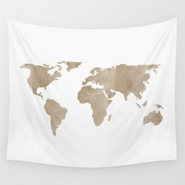 World Map - Beige Watercolor Minimal on White Wall Tapestry