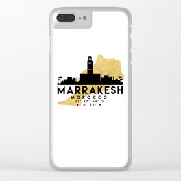 MARRAKESH MOROCCO SILHOUETTE SKYLINE MAP ART Clear iPhone Case