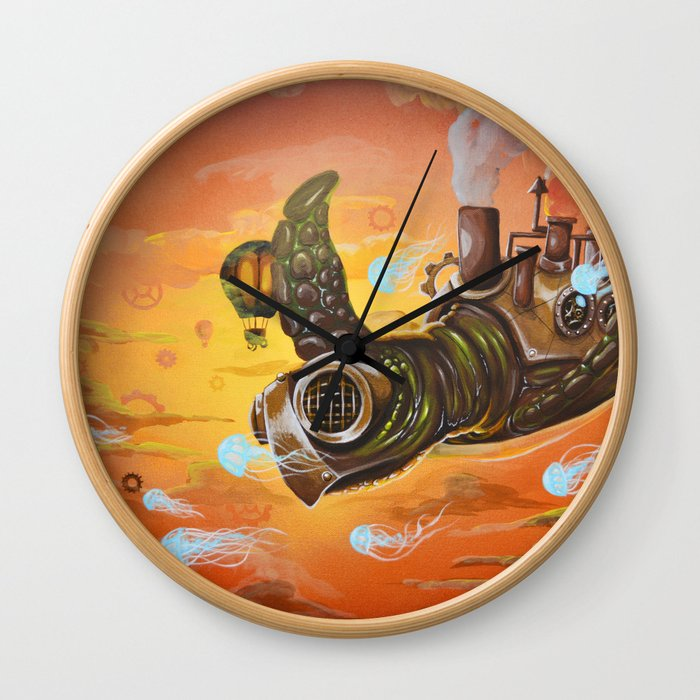 flying  steampunk turtle Wall Clock