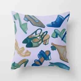 Shoes shoes shoes with lilac background Throw Pillow