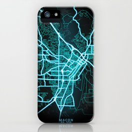 Macon, GA, USA, Blue, White, Neon, Glow, City, Map iPhone Case