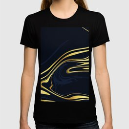 Blue And Gold Marble T-shirt