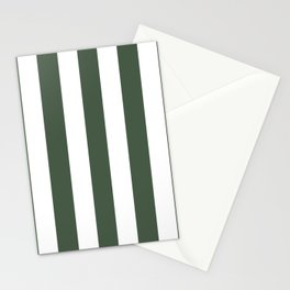 Gray-asparagus green - solid color - white vertical lines pattern Stationery Cards