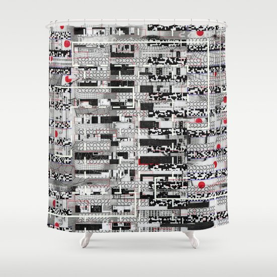 Opportunistic Species (P/D3 Glitch Collage Studies) Shower Curtain