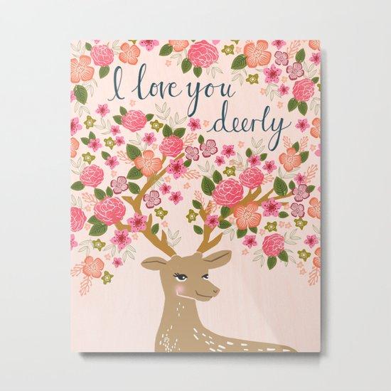 Love Deer Valentines day floral flower antlers Andrea Lauren  Metal Print