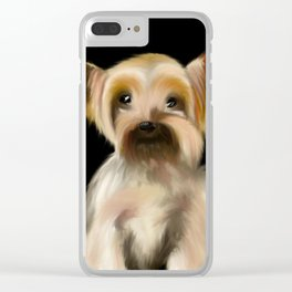 Yorkie on Black Clear iPhone Case