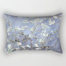 Vincent Van Gogh Almond Blossoms : Steel Blue & Gray Rectangular Pillow