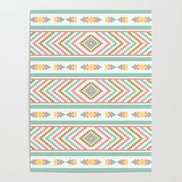 Abstract Tribal Native Geometric Pattern - Bohemian Festival Colorful Poster