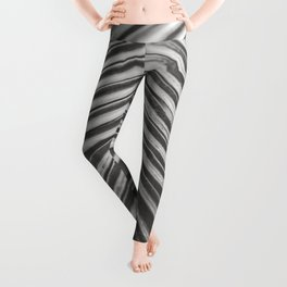 Palm Leaf in Black and White Leggings