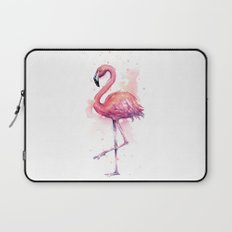 Pink Flamingo Watercolor Tropical Bird Laptop Sleeve