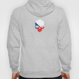 Flag of Czech Republic on a Chaotic Splatter Skull Hoody