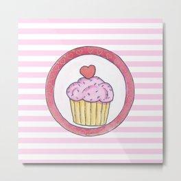 Cupcake and stripes Metal Print