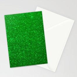Emerald Green Shiny Metallic Glitter Stationery Cards