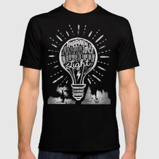Happiness Can Be Found in the Darkest of Times Black MEDIUM Mens Fitted Tee