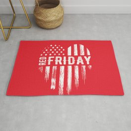 Red Friday Distressed USA Heart Military Rug
