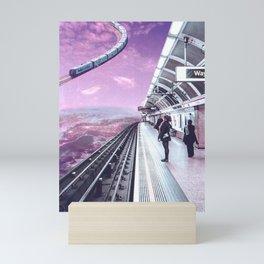 Sky Train - Space Aesthetic, Retro Futurism, Sci Fi Mini Art Print