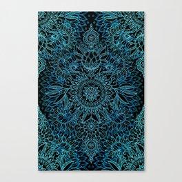 Black & Aqua Protea Doodle Pattern Canvas Print