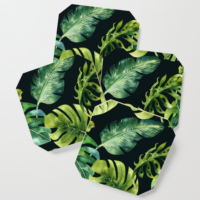 Watercolor Botanical Tropical Palm Leaves on Solid Black Background Coaster