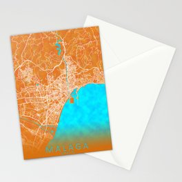 Malaga, Spain, Gold, Blue, City, Map Stationery Cards