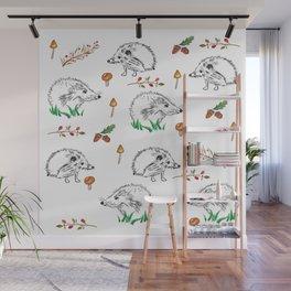 Hedgehogs Autumn Pattern Wall Mural