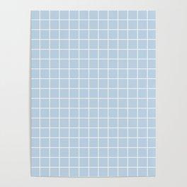 Pale aqua - heavenly color - White Lines Grid Pattern Poster