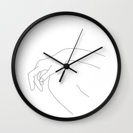 Hand on knee black and white illustration - Ana Wall Clock