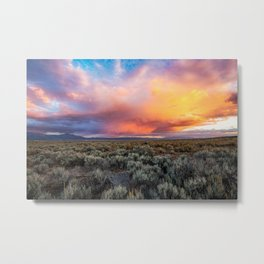 Enchanted Evening - Colorful Storm Cloud Over Desert near Taos, New Mexico Metal Print