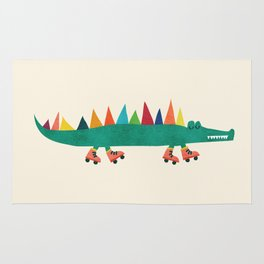 Crocodile on Roller Skates Rug