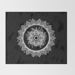 Bohemian Lace Paisley Mandala White on Black Throw Blanket