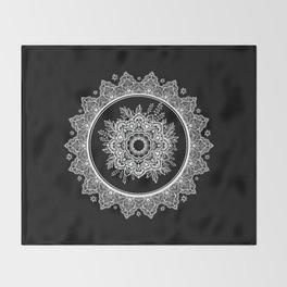 Bohemian Lace Paisley Mandala White on Black Throw Blanket