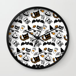 Halloween Cats and Things White Wall Clock