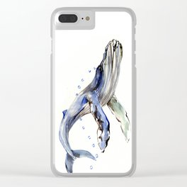 Humpback Whale, swimming whale artwork Clear iPhone Case