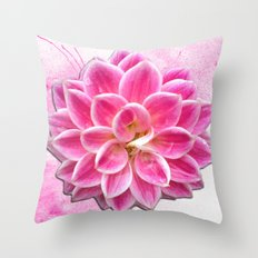 Pretty in Pink Dahlia Throw Pillow