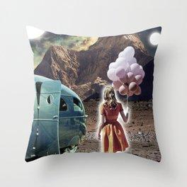 Girl with Balloons Throw Pillow