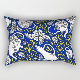 Tea Time Blue Rectangular Pillow