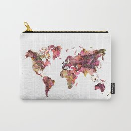 world map flowers pattern Carry-All Pouch