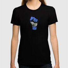 Salvadorian Flag on a Raised Clenched Fist T-shirt
