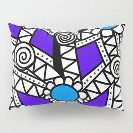 Doodle Art Flower - Pathways - Purple Blue Pillow Sham