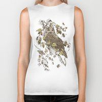 botanical Biker Tanks featuring Great Horned Owl by Teagan White