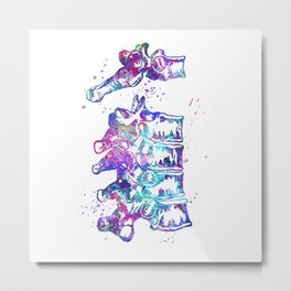 Thoracic Vertebrae Art Colorful Blue Purple Watercolor Gift Anatomy Art Clinic Decor Metal Print