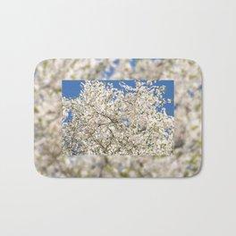 white flowers of Cerasus Bath Mat