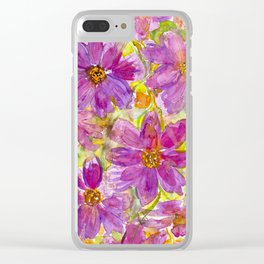 Watercolor Wildflowers Clear iPhone Case