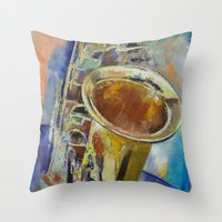 saxophone Throw Pillows featuring Saxophone by Michael Creese